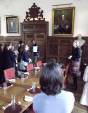 Dr Polly Blakesley discussing the portraits at Pembroke College Cambridge