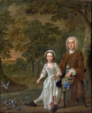 Portrait of William Ellis and his daughter Elizabeth by Francis Hayman (1708-1776), 1745 © Tyne & Wear Archives & Museums