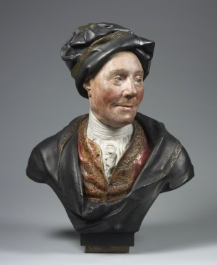 Colley Cibber (1671-1757), dramatist and actor, perhaps from the workshop of Sir Henry Cheere, 1st Bt., painted plaster bust, c.1740 © National Portrait Gallery, London