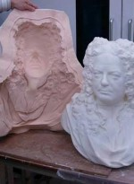 The master model of the bust (created in nylon from the computer model) with the mould © National Conservation Centre, Liverpool