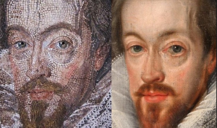 Left: Robert Cecil in Garter Robes by unknown Italian artist after John de Critz the Elder, mosaic, 1608 (detail). Hatfield House. Right: Robert Cecil in Garter Robes by John de Critz the Elder, oil on canvas, 1607 (detail). Private collection, UK