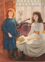 Portrait of Bell and Dorothy Freeman, watercolour on paper, by Edward Robert Hughes, signed and dated 1889. © The Geffrye Museum of the Home, London. Purchased with the assistance of the Heritage Lottery Fund, the Art Fund and the Arts Council England/Victoria and Albert Museum Purchase Grant Fund.