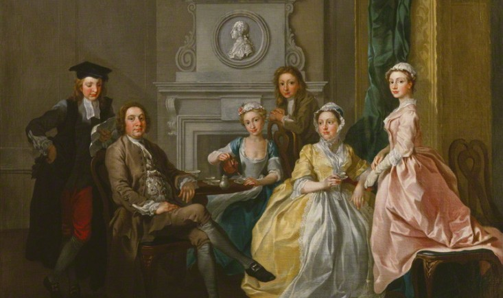 Jonathan Tyers, proprietor of Vauxhall Gardens, and his family by Francis Hayman, oil on canvas, 1740 © National Portrait Gallery, London