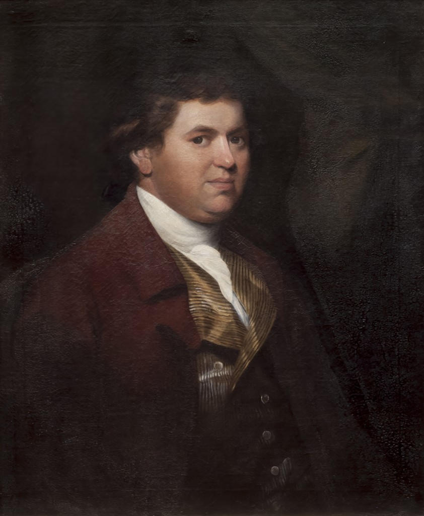 """Portrait of James Bayley VI (1759-1840), artist unknown, c.1785-97, Grosvenor Museum, Chester. James Bayley VI belonged to a landowning family which had lived in south Cheshire since the late 17th-century. His great-grandfather James Bayley III (1668-1747), the second son of a Staffordshire landowner, acquired various estates in Cheshire and settled at Wistaston Manor near Nantwich. James Bayley VI was born in 1759, the son of James Bayley V of Stapeley Hall, Wybunbury, and his second wife Ann Hamnett. Being the eldest son, and following family tradition, he was christened 'James'. James Bayley VI inherited Stapeley Hall on his father's death in 1779. The following year he married Penelope, daughter of Edward Salmon of Hassall Hall, Sandbach, and they had sixteen children. James Bayley VI spent his life as a country squire. After his wife's death in 1825, he lived out the remainder of his life with his two spinster daughters, Emma and Penelope, who took over the management of their father's household. He died in 1840 aged 80, and was succeeded by his eldest son Captain James Bayley VII (1782-1842). The Chester Chronicle remarked that """"He was a true specimen of the good old English gentleman, long respected by his friends, and will be seriously missed by the cottagers and the poor in his neighbourhood."""""""