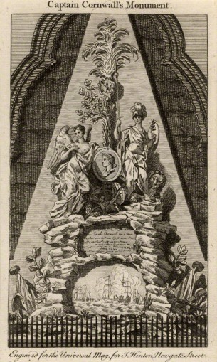 'Captain Cornwall's Monument' (tomb sculpture of James Cornewall, incorporating portrait medallion) after unknown sculptor, line engraving, c.1755 © National Portrait Gallery, London