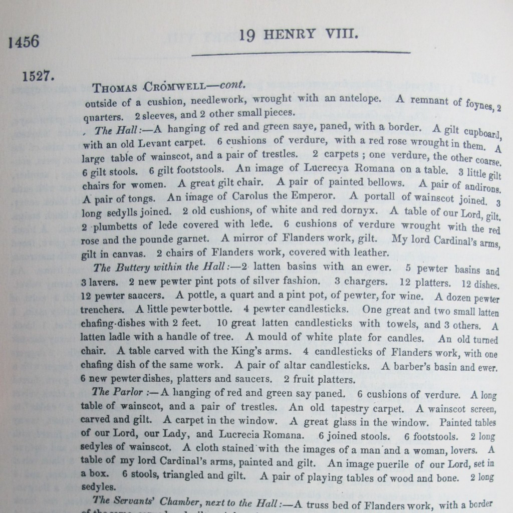 Fig. 4 Thomas Cromwell Inventory 'Letters and Papers Foreign and Domestic', vol IV Henry VIII (1875), The Hall.