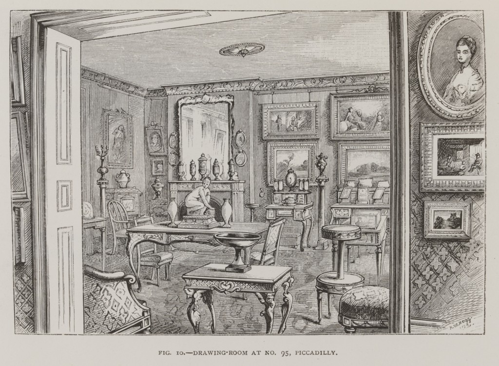 Drawing Room at No.95 Piccadilly, from the Handbook of the Jones Collection in the South Kensington Museum, letterpress and woodcuts, published for the Committee of Council on Education, England (London), 1883. National Art Library © Victoria and Albert Museum, London