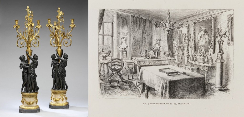 Left: Pair of ormolu three light candelabra, France, 1770-80. Museum number 964-1882. Right: The Dining Room at No.95 Piccadilly © Victoria and Albert Museum, London