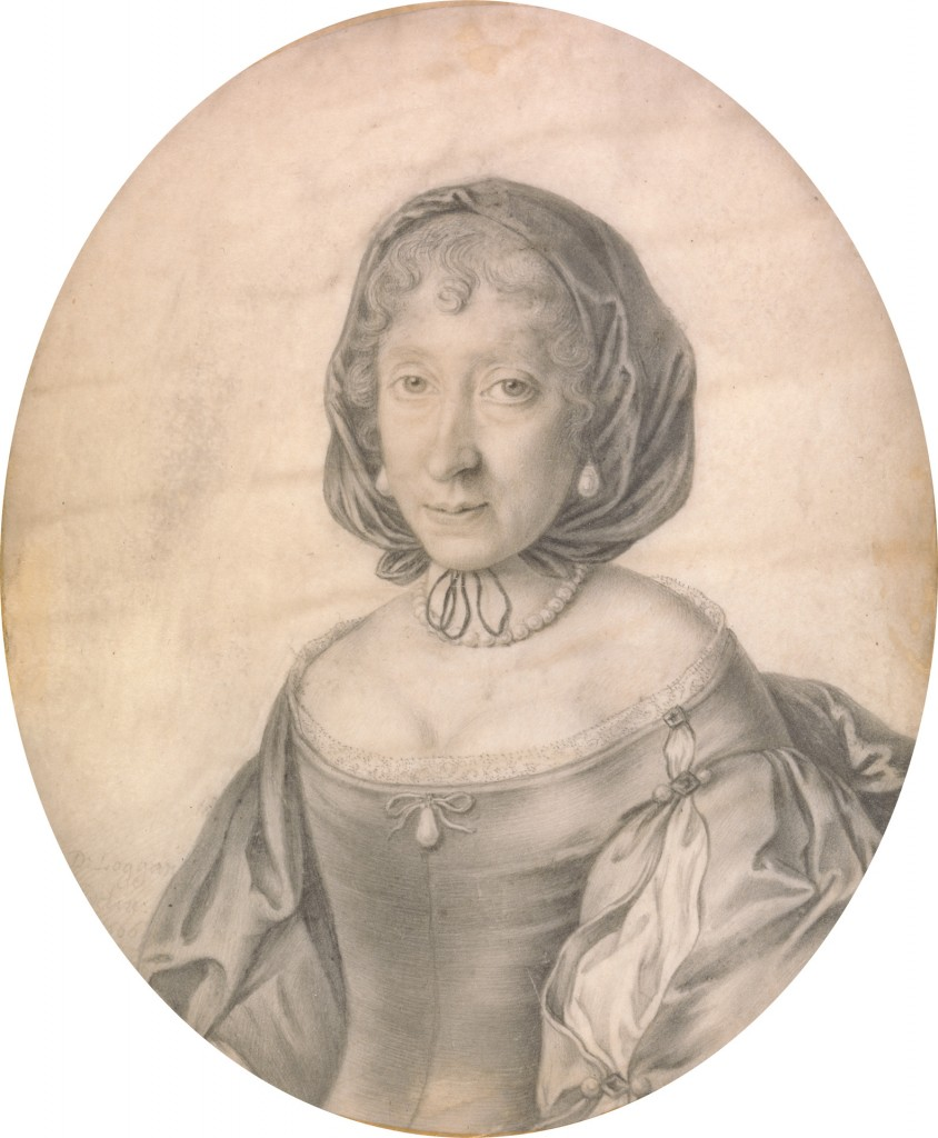 Portrait of a Lady by David Loggan (1633-1692), black lead on vellum, the face touched with light brown wash, giltded edge, 1666 © Yale Center for British Art, Paul Mellon Collection