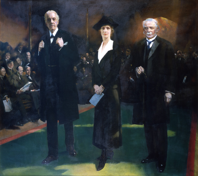 Lady Astor being introduced to the House of Commons by Lloyd George and F.H. Shepherd, by Charles Sims, RA © Plymouth City Council: Museum and Art Gallery