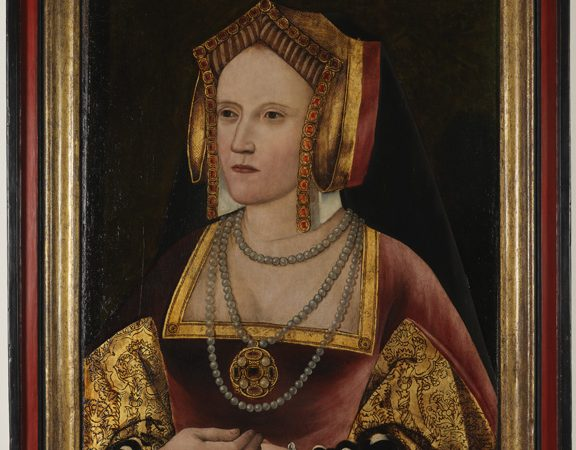 Catherine of Aragon, by an Unknown artist, oil on panel, circa 1520, L246. By permission of the Archbishop of Canterbury and the Church Commissioners. Photograph taken after treatment.