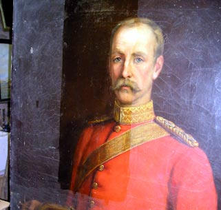 Portrait of Colonel French during conservation by Ronald Moore © 1st The Queen's Dragoon Guards/Ronald Moore