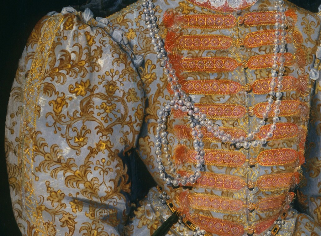 Detail of the lace on bodice and sleeve from portrait of Queen Elizabeth I, also known as the 'Darnley portrait', by unknown Netherlandish artist, oil on panel, c.1575 © National Portrait Gallery, London