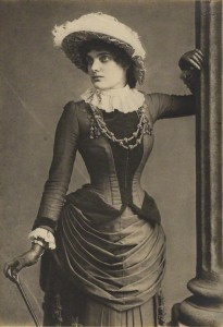 Lily Harcourt by Elliott & Fry, chlorobromide print on cream card mount, 1883 (detail) © National Portrait Gallery, London