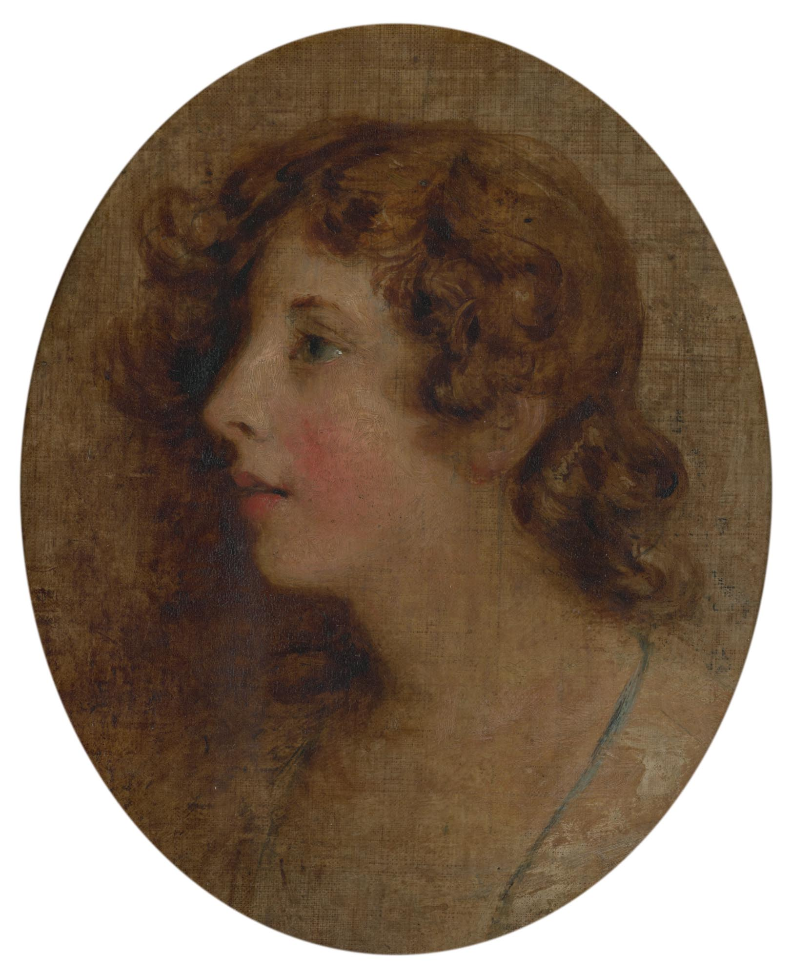 Unknown young woman, 18th century, oil on linen 28 x 22.7cm. Purchased from Sir Bruce Ingram, 1963. © Government Art Collection (1443)