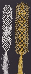 Left: a sample of 'Le Pompe', to the right a reconstruction of the lace from the 'Darnley portrait' at the NPG © Gil Dye