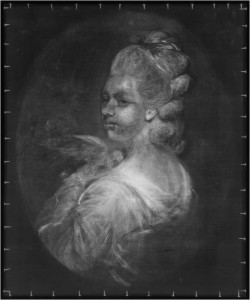 X-ray image of the portrait of Mrs Mary Nesbitt by Joshua Reynolds, 1781 © Wallace Collection