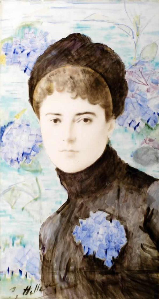 Unidentified woman by Paul Helleu (1859-1927), painted on ceramic c.1885 © The Bowes Museum