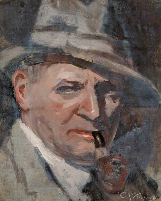 Head of a Man in Grey with a Pipe by Charles Phillips Young, tempera on canvas © Tyne & Wear Archives & Museums