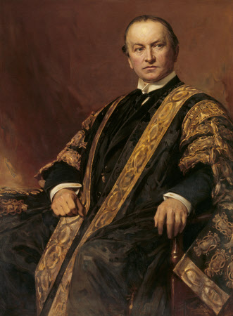 George Nathaniel Curzon, 1st Marquess Curzon of Kedleston, KG, GCIE, PC, MP (1859-1925) in the Robes of Chancellor of Oxford University by Sir Hubert von Herkomer, CVO, RA (1849–1914), 1907/14. National Trust, Kedleston Hall, Derbyshire © National Trust Images/John Hammond