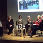 Panel discussion at the Annual Seminar 2011 (l-r) Moira Walters, Compton Verney; Dr Lara Perry, University of Brighton; Jane Won, De La Warr Pavilion; Alison Cox, Compton Verney; Dr Maria Balshaw, Whitworth Art Gallery and Manchester City Galleries, and Giles Waterfield
