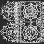 Reticella lace pattern from Federico Vinciolo's 'Les Singuliers et Nouveaux Pourtaicts', first published in Paris in 1587 (now available in reprint from Dover books). This pattern is of the type depicted in the Cobbe collection portrait. Click for larger image
