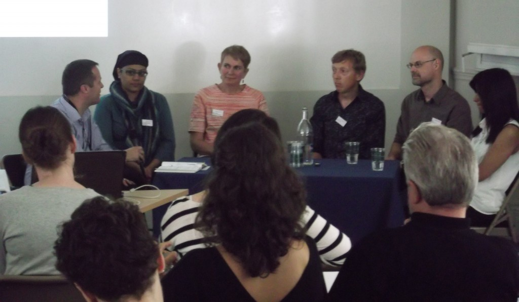 Morning discussion session. l-r Toby Watley; Dr Sadiah Qureshi; Ruth Clarke; Anton Want; Simon Taylor; Shahmima Akhtar.