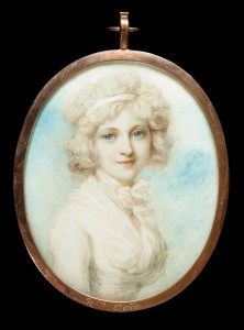 Mrs Ogle (née Mary Hall), by Richard Cosway (1742-1821), about 1800. Watercolour on ivory; verso with hair plait; gilt-metal frame © Private collection (click for larger image)