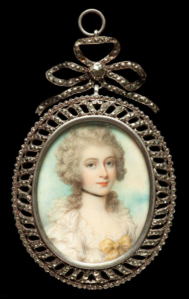 Mrs Townley, attributed to Richard Cosway (1742 -1821), about 1800. Watercolour on ivory; elaborate memorial verso in hair, pearls and sepia; cut-steel frame © Private collection