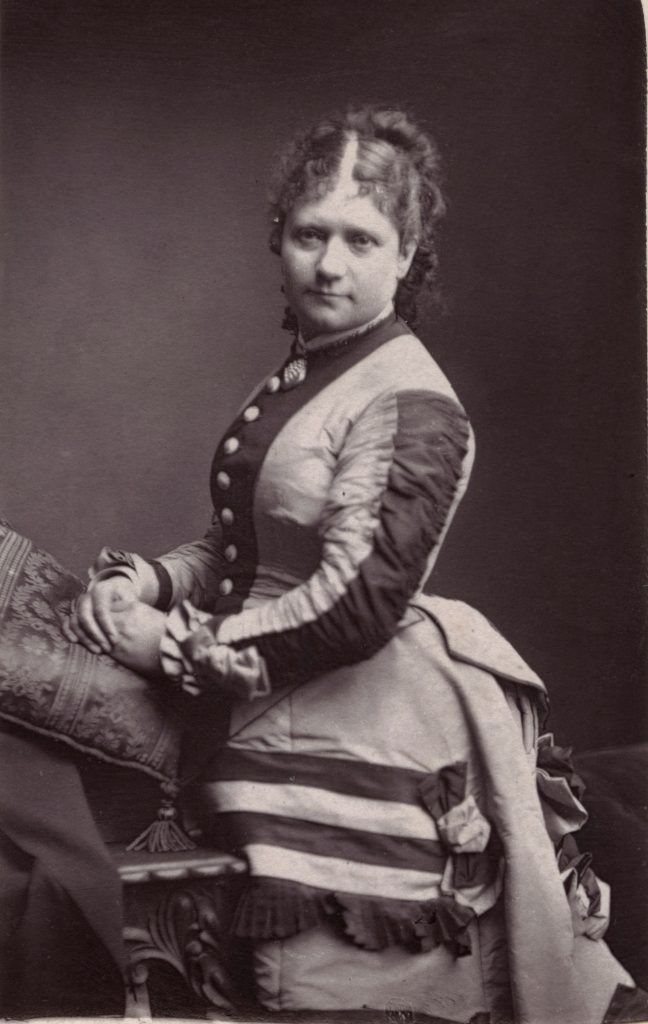 Mrs Henry Nye Chart (d.1892), theatre manager, by Louis Bertin (b.c.1828), woodburytype, 1870s. © National Portrait Gallery, London