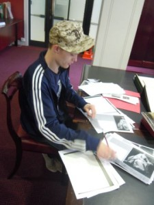 Creative Apprentice Chris getting to grips with the Heinz Archive