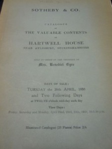 Sotheby & Co. Catalogue of the Valuable Contents of Hartwell House, 1938. Image courtesy of National Portrait Gallery