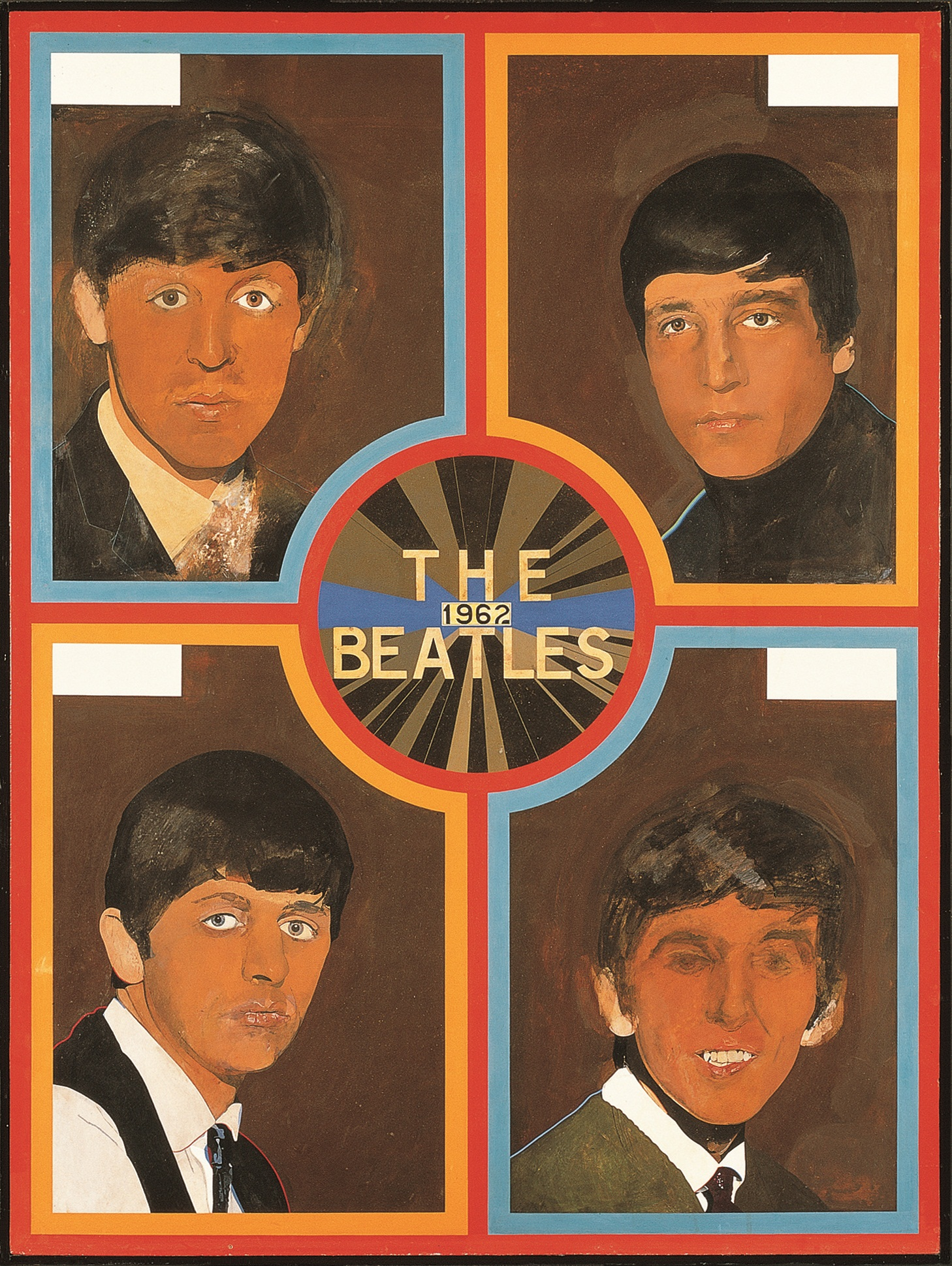 The Beatles 1962 (1963-68) by Sir Peter Blake, acrylic emulsion on hardboard. Pallant House Gallery: Wilson Gift through The Art Fund, 2004.
