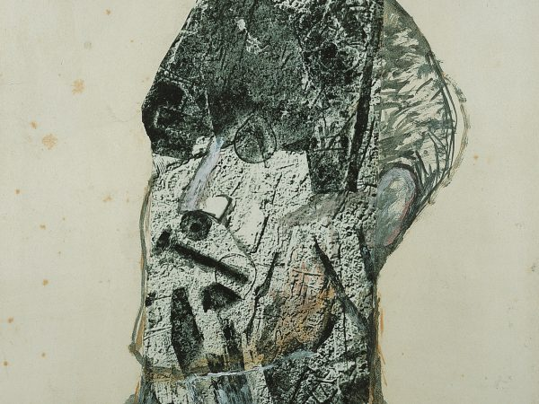 Head of James Joyce by Nigel Henderson, c.1960, collage and photographic processes on paper. Pallant House Gallery: Wilson Gift through The Art Fund, 2004.