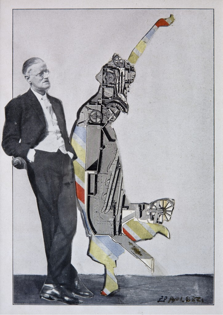 James Joyce and Dancer: Monument to Trieste, still from The History of Nothing by Eduardo Paolozzi (1960-62), collage on paper.  Pallant House Gallery: Wilson Loan, 2006.