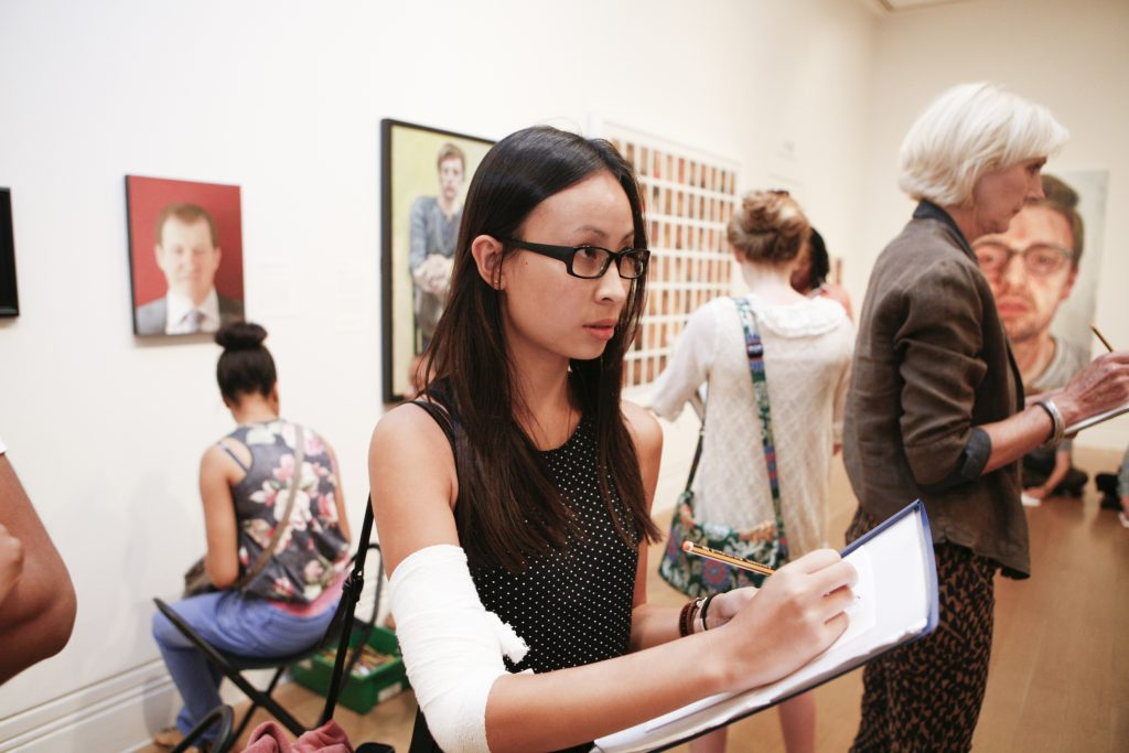 BP Portrait Award: Next Generation Young People's Private View, 2013. Photographer: Othello De'Souza-Hartley. © National Portrait Gallery, London
