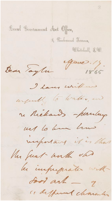 Image of GFW/1/2/3, Letter from Tom Taylor, Local Government Act Office, 8 Richmond Terrace to J. E. Taylor, Manchester, 17 June 1865. © Heinz Archive and Library, National Portrait Gallery, London