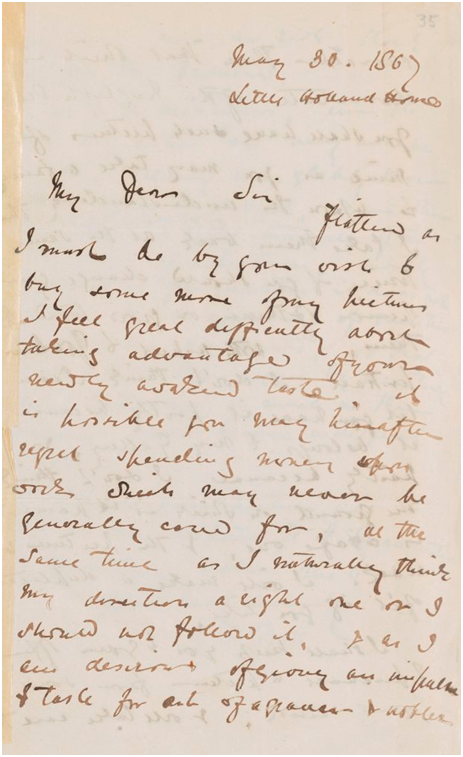 GFW/1/2/14, Letter from G. F. Watts, Little Holland House to C. H. Rickards, Old Trafford, Manchester, 30 May 1867 (page 1) © Heinz Archive and Library, National Portrait Gallery, London