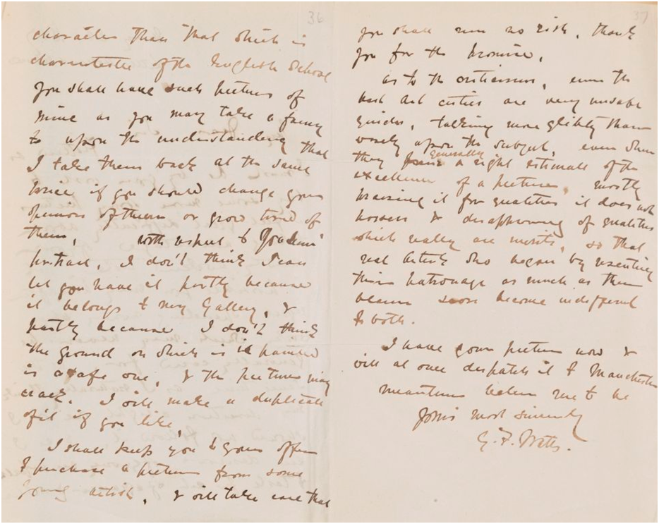 GFW/1/2/14, Letter from G. F. Watts, Little Holland House to C. H. Rickards, Old Trafford, Manchester, 30 May 1867 (page 2-3) © Heinz Archive and Library, National Portrait Gallery, London