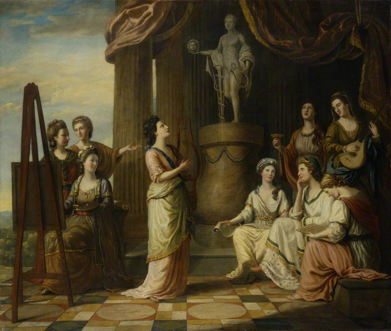 Portraits in the Characters of the Muses in the Temple of Apollo by Richard Samuel, oil on canvas, exhibited 1779. © National Portrait Gallery, London