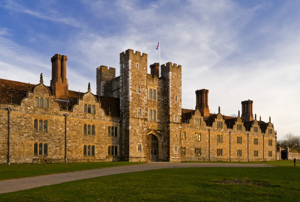 The west front of Knole, Kent. The central gatehouse was built by Henry VIII between 1543 and 1548, with later additions to the west front in the seventeenth-century. National Trust, Knole, Kent ©National Trust Images/Robert Morris