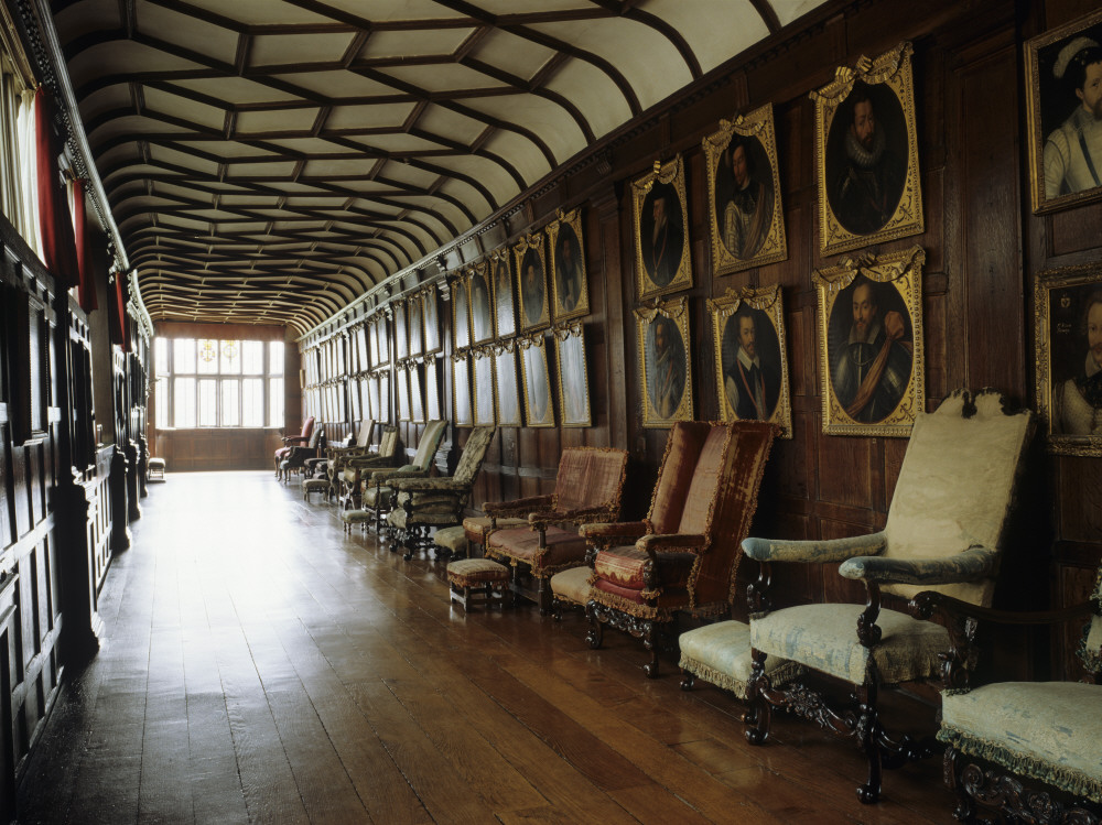 The Brown Gallery at Knole with its rows of 16th and 17th Century portraits and fine collection of early English furniture for which Knole is particulary famed. National Trust, Knole, Kent ©National Trust Images/Andreas von Einsiedel