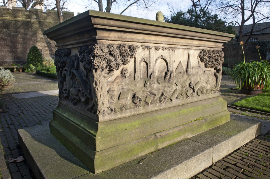 The Tradescant tomb in the Garden Museum's knot garden