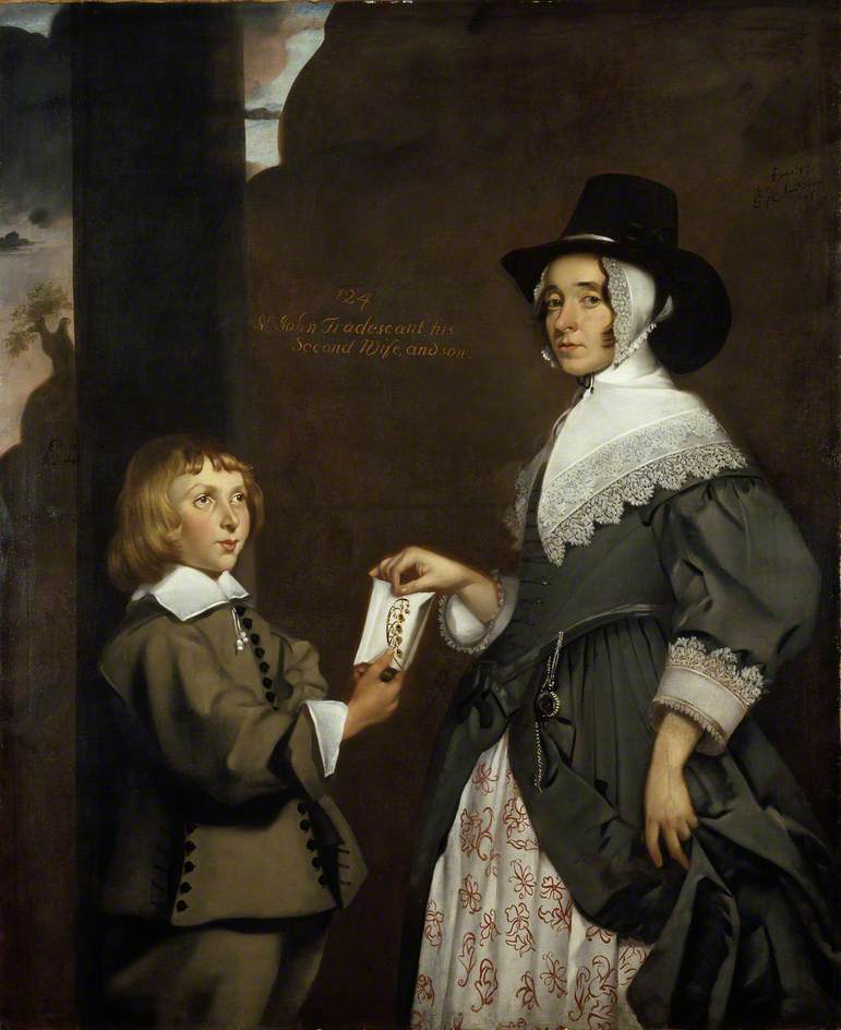 Hester Tradescant and her stepson John, attributed to Thomas de Critz (1607 - 1653), 1645 © Ashmolean Museum, University of Oxford