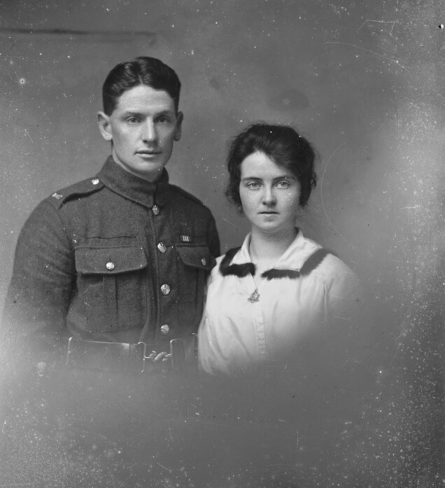 Unknown couple, c.1914-c1918 (DCH Mil 026) The National Library of Wales. Full cataloguing http://cymru1914.org/en/view/photographs/3891089
