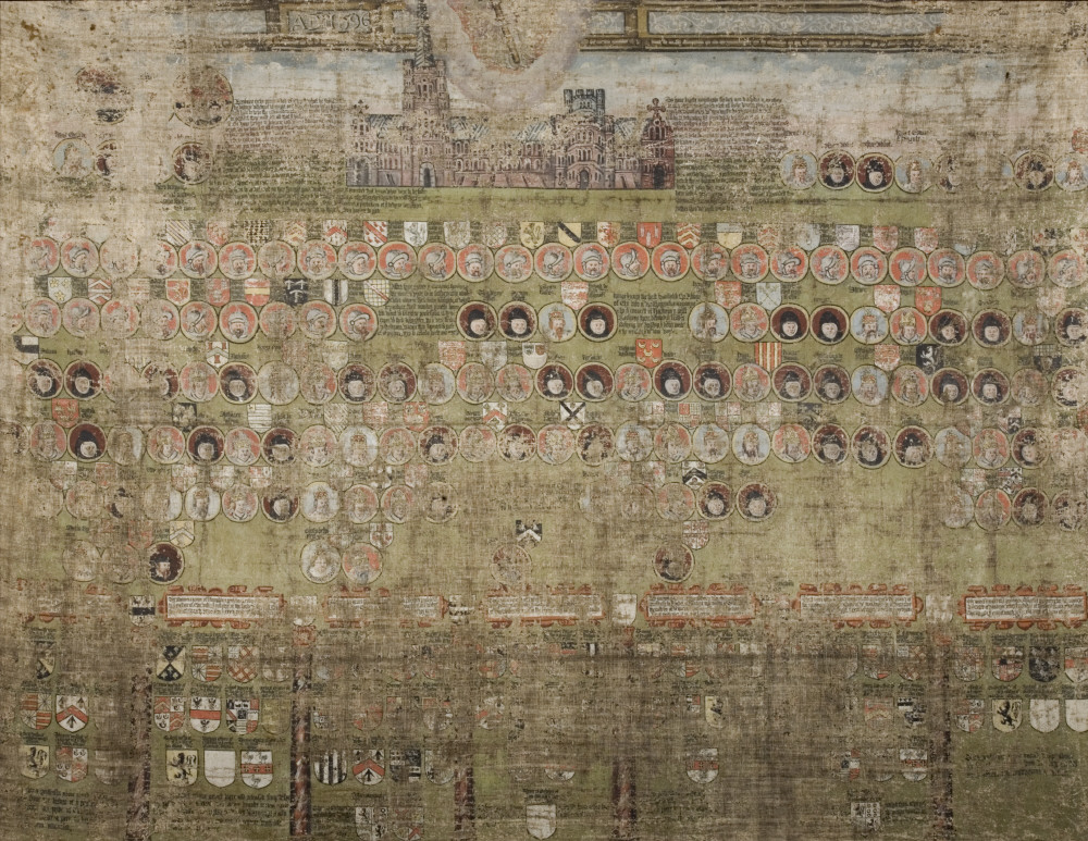 The Tabula Eliensis, a painted canvas dated 1596 in The Tower Room at Coughton Court, Warwickshire © National Trust Images/John Hammond.