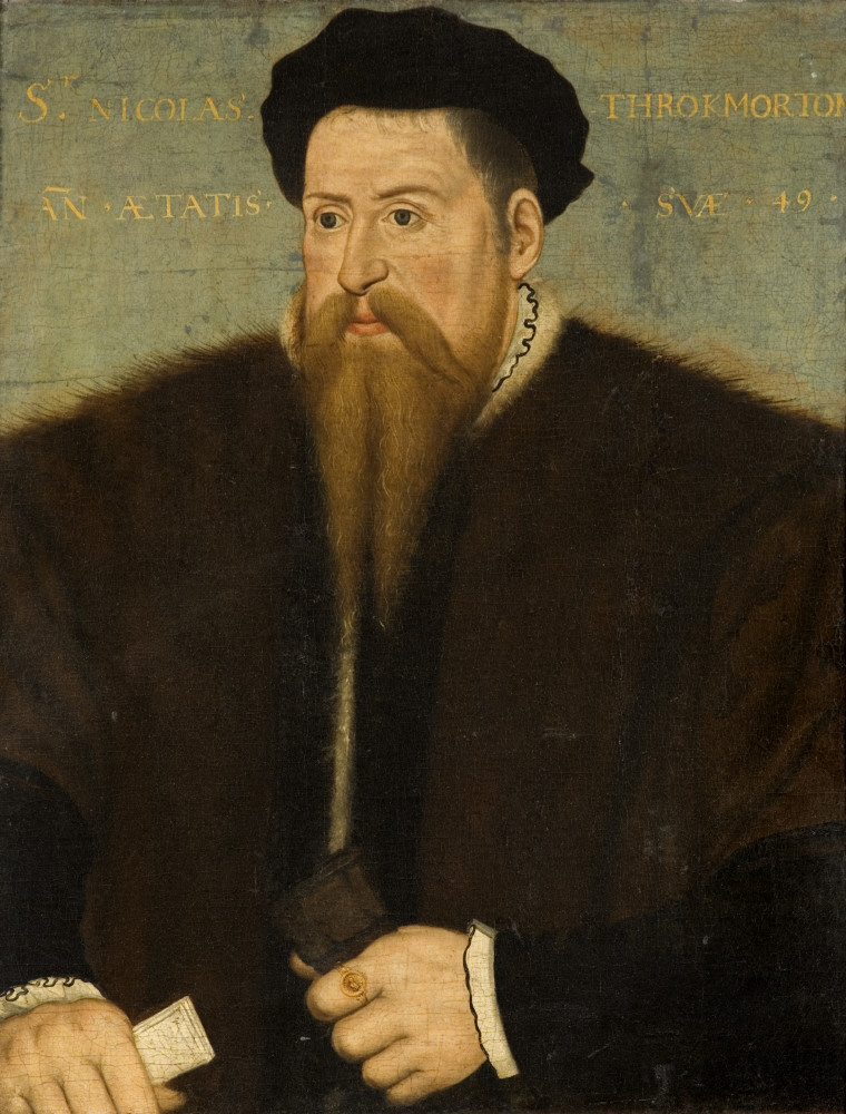 Sir Nicholas Throckmorton (1515-1571), aged 49 by British (English) School, inscribed 1564, oil on canvas. Coughton Court, Warwickshire © National Trust Images/John Hammond. A later copy of Coughton Court's earliest portrait; we know very little about this copy.