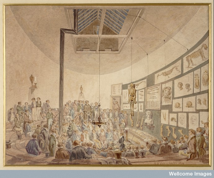 A lecture at the Hunterian Anatomy School, Great Windmill Street, London, by Robert Blemmel Schnebbelie, watercolour, 1830. Wellcome Library, London. This watercolour a rare representation of a lecture at William Hunter's anatomy school at Great Windmill Street, London. Hunter died in 1783; this painting shows a successor teaching about the bones of the skull.