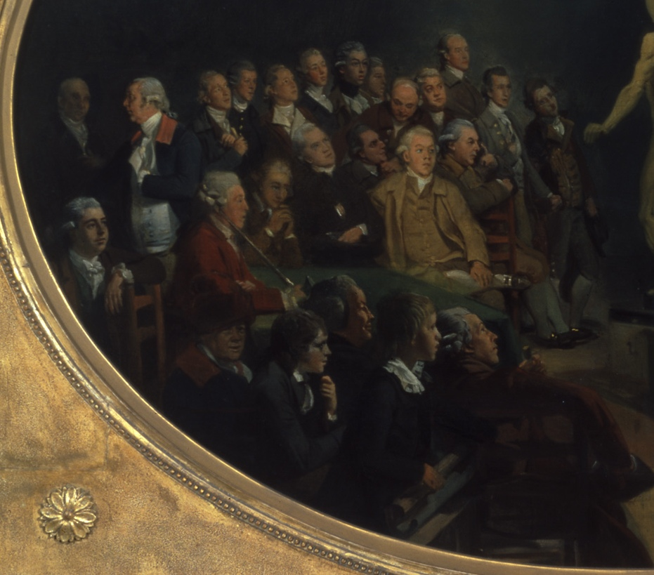 Dr William Hunter lecturing by Johan Zoffany, c.1770-1772 (detail). Royal College of Physicians, London