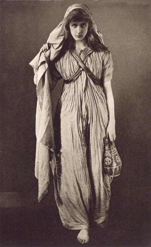 Unknown model dressed as 'Rebecca' by Eveleen Myers (née Tennant), sepia photogravure, 1891 © National Portrait Gallery, London